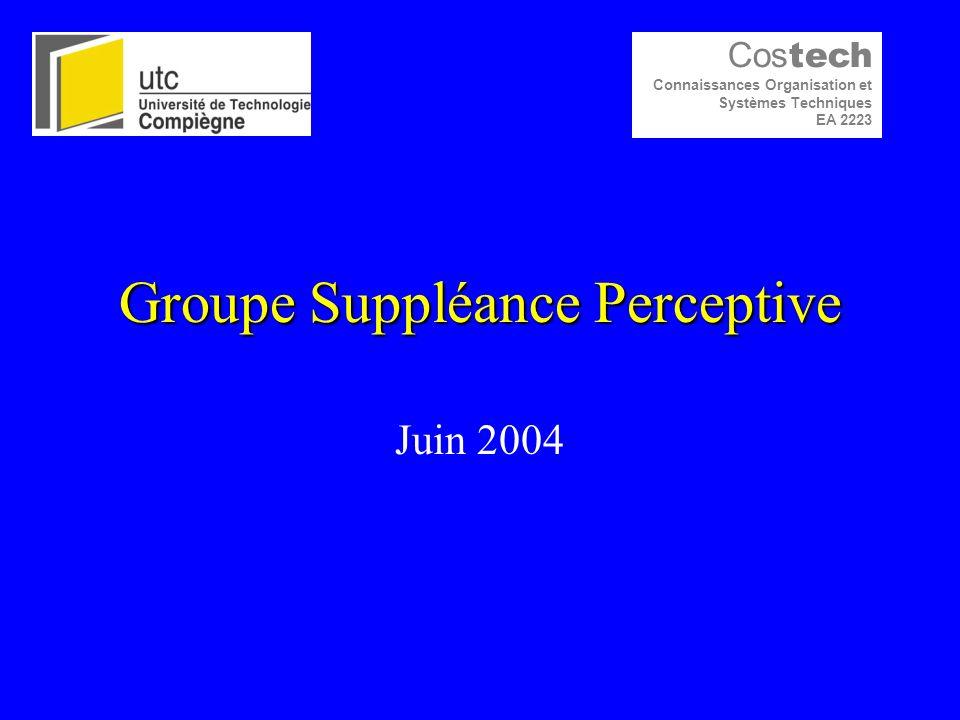 Groupe Suppléance Perceptive Juin 2004 Cos tech Connaissances Organisation et Systèmes Techniques EA 2223