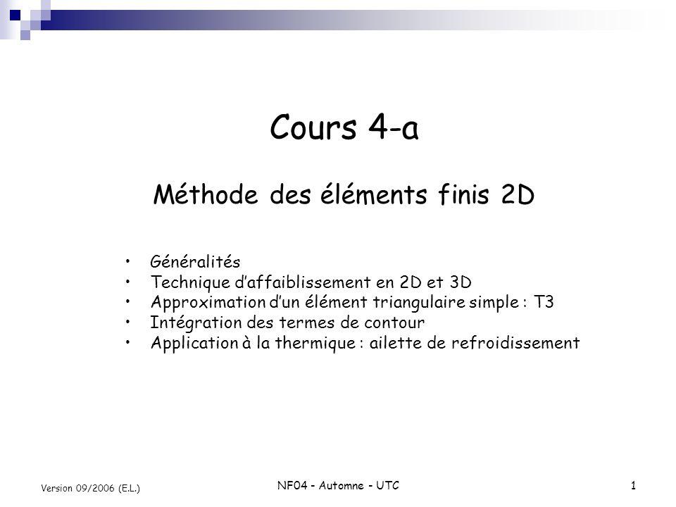 NF04 - Automne - UTC1 Version 09/2006 (E.L.) Cours 4-a Méthode des éléments finis 2D Généralités Technique daffaiblissement en 2D et 3D Approximation