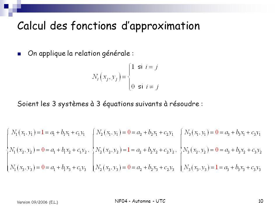 NF04 - Automne - UTC10 Version 09/2006 (E.L.) Calcul des fonctions dapproximation On applique la relation générale : Soient les 3 systèmes à 3 équatio