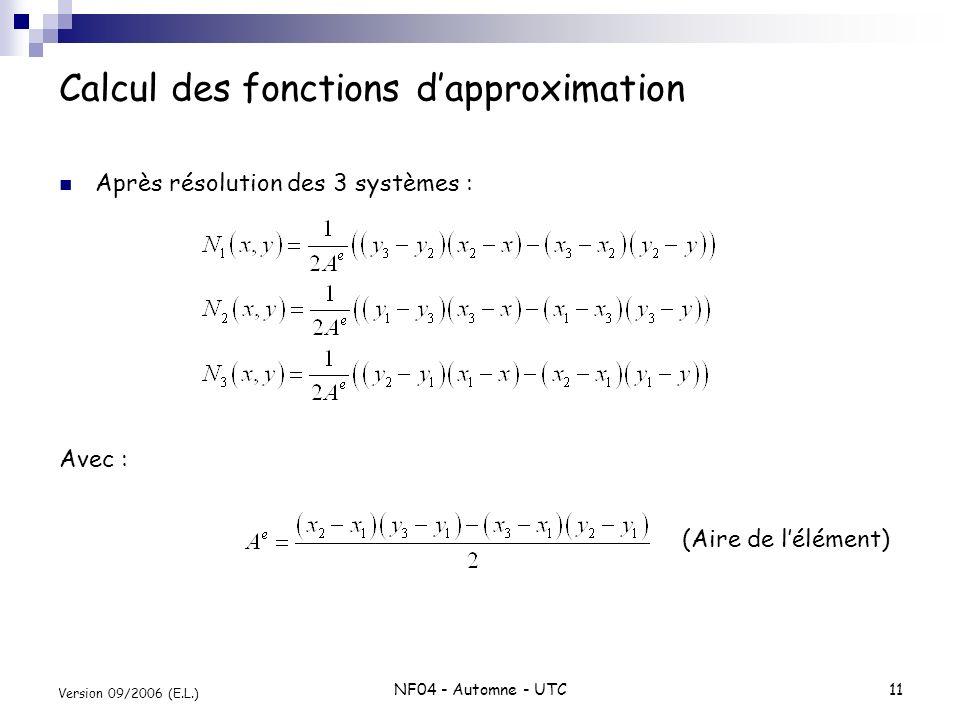 NF04 - Automne - UTC11 Version 09/2006 (E.L.) Calcul des fonctions dapproximation Après résolution des 3 systèmes : Avec : (Aire de lélément)