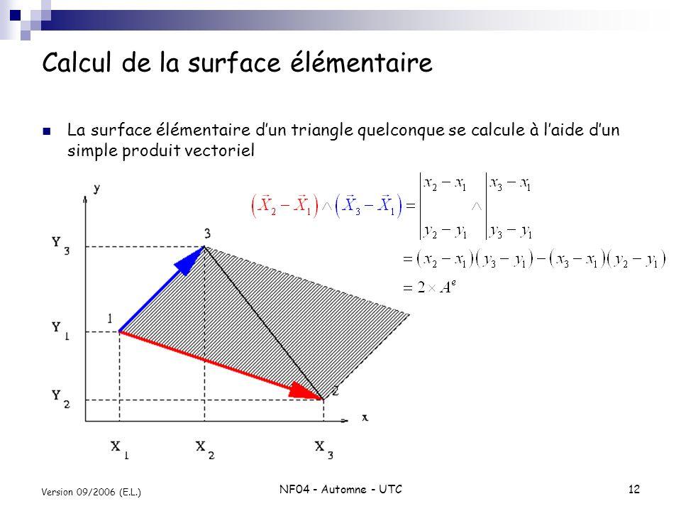 NF04 - Automne - UTC12 Version 09/2006 (E.L.) Calcul de la surface élémentaire La surface élémentaire dun triangle quelconque se calcule à laide dun s