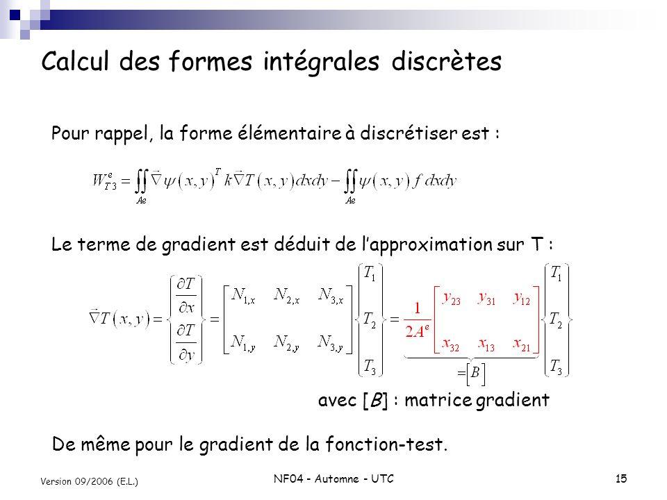 NF04 - Automne - UTC15 Version 09/2006 (E.L.) Calcul des formes intégrales discrètes Pour rappel, la forme élémentaire à discrétiser est : Le terme de