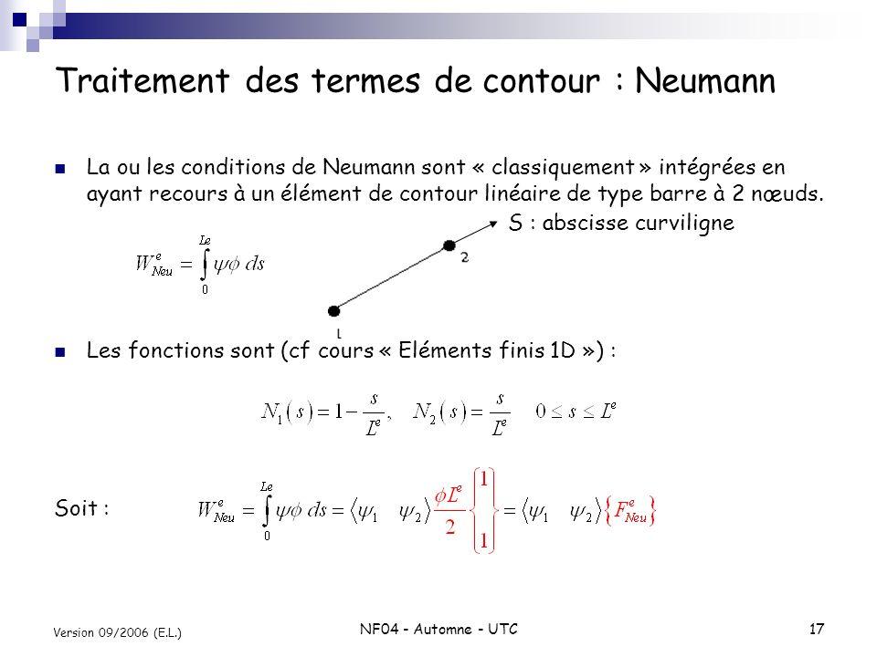 NF04 - Automne - UTC17 Version 09/2006 (E.L.) Traitement des termes de contour : Neumann La ou les conditions de Neumann sont « classiquement » intégr