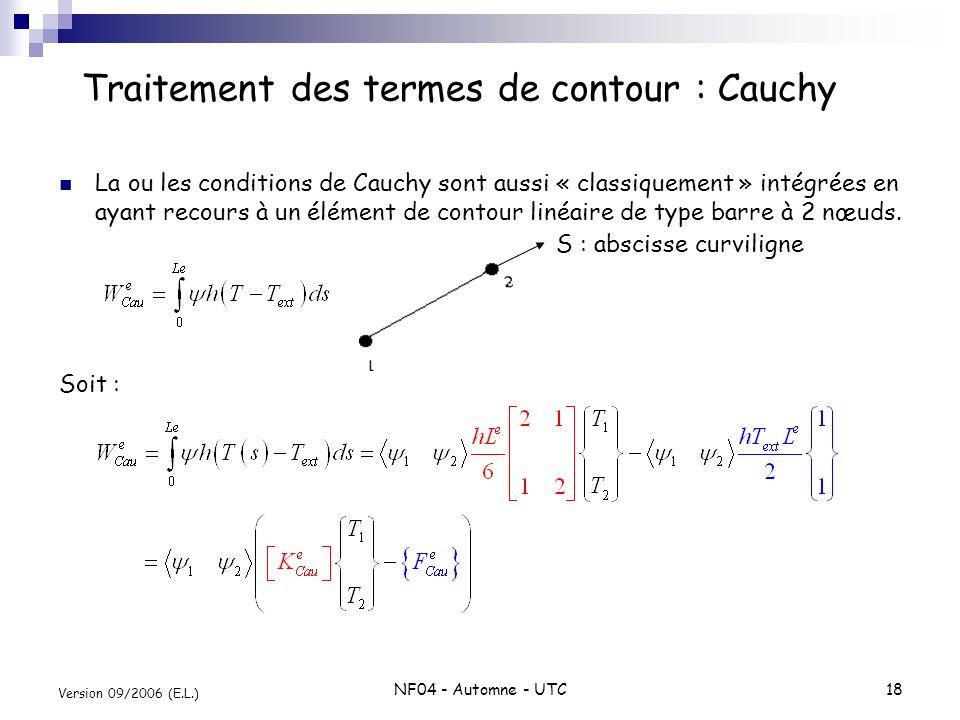 NF04 - Automne - UTC18 Version 09/2006 (E.L.) La ou les conditions de Cauchy sont aussi « classiquement » intégrées en ayant recours à un élément de c
