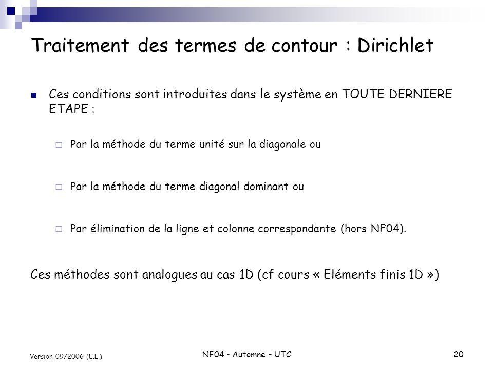 NF04 - Automne - UTC20 Version 09/2006 (E.L.) Traitement des termes de contour : Dirichlet Ces conditions sont introduites dans le système en TOUTE DE