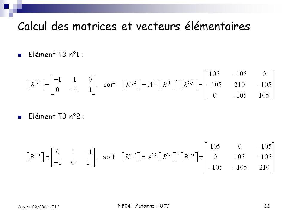 NF04 - Automne - UTC22 Version 09/2006 (E.L.) Calcul des matrices et vecteurs élémentaires Elément T3 n°1 : Elément T3 n°2 :