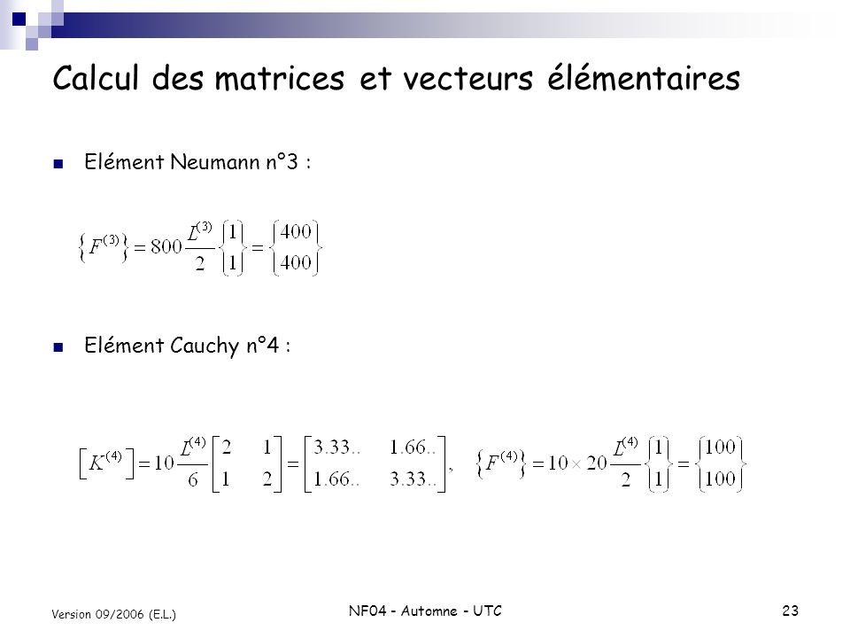 NF04 - Automne - UTC23 Version 09/2006 (E.L.) Calcul des matrices et vecteurs élémentaires Elément Neumann n°3 : Elément Cauchy n°4 :
