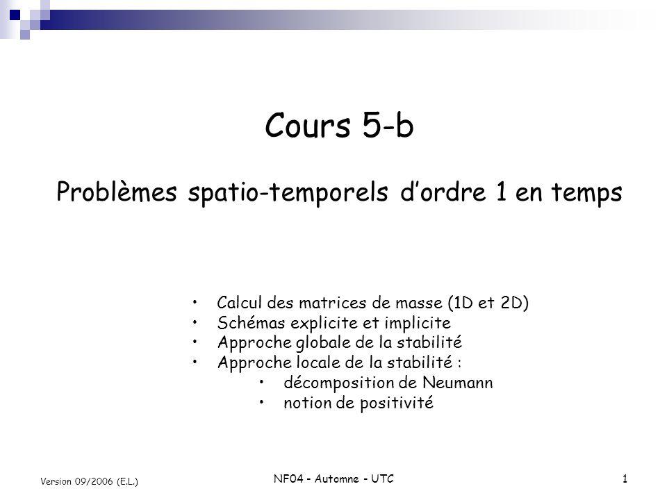 NF04 - Automne - UTC1 Version 09/2006 (E.L.) Cours 5-b Problèmes spatio-temporels dordre 1 en temps Calcul des matrices de masse (1D et 2D) Schémas ex