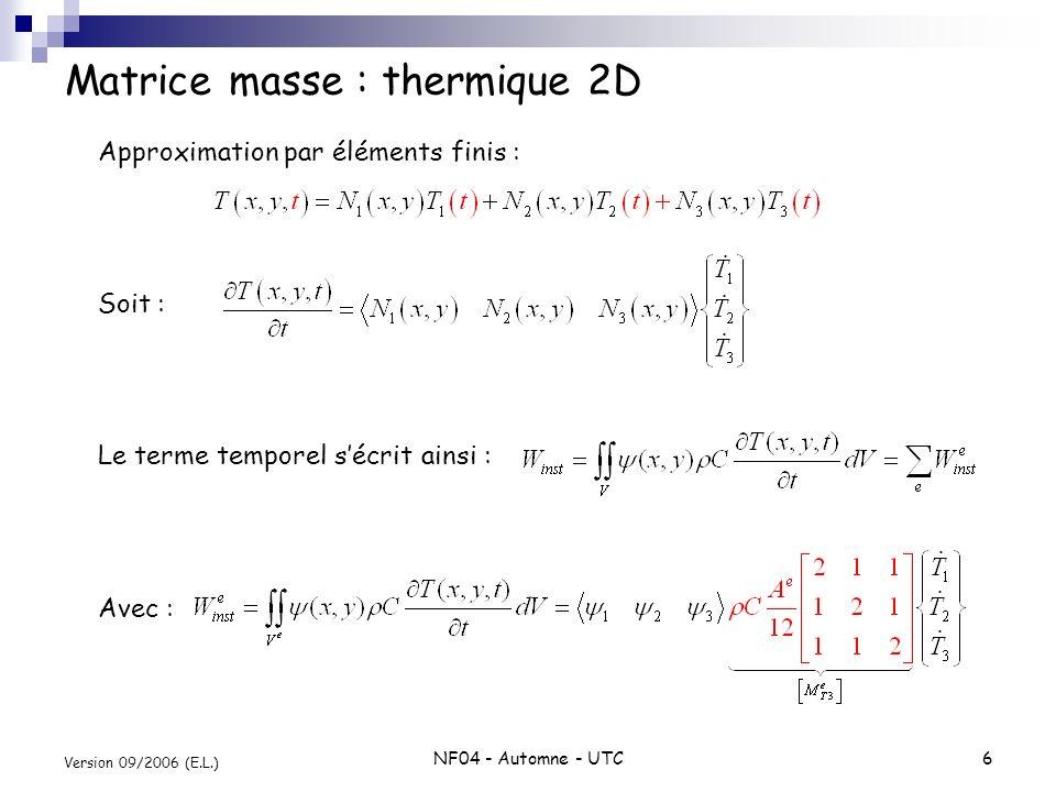 NF04 - Automne - UTC6 Version 09/2006 (E.L.) Matrice masse : thermique 2D Approximation par éléments finis : Soit : Le terme temporel sécrit ainsi : A