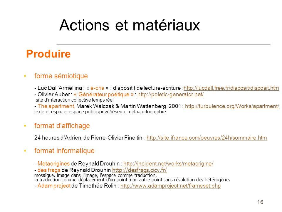 16 Produire forme sémiotique - Luc DallArmellina : « e-cris » : dispositif de lecture-écriture :http://lucdall.free.fr/disposit/disposit.htmhttp://luc