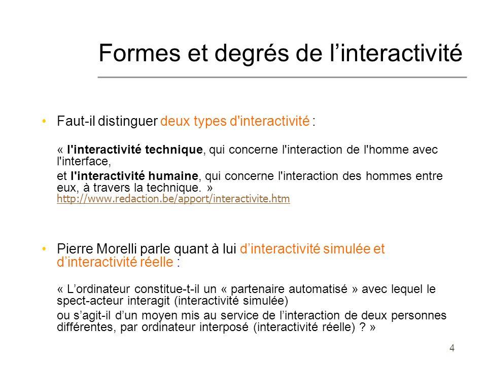 4 Formes et degrés de linteractivité Faut-il distinguer deux types d'interactivité : « l'interactivité technique, qui concerne l'interaction de l'homm