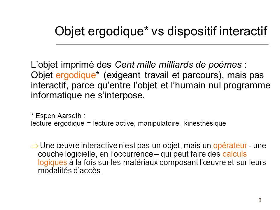 8 Lobjet imprimé des Cent mille milliards de poèmes : Objet ergodique* (exigeant travail et parcours), mais pas interactif, parce quentre lobjet et lhumain nul programme informatique ne sinterpose.