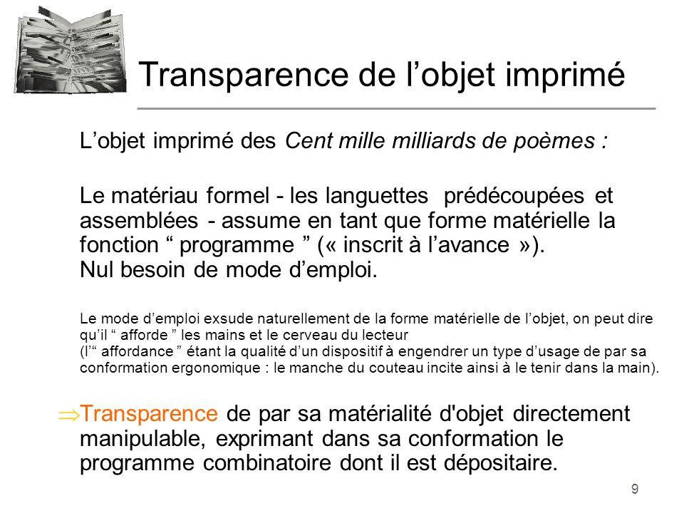 9 Lobjet imprimé des Cent mille milliards de poèmes : Le matériau formel - les languettes prédécoupées et assemblées - assume en tant que forme matérielle la fonction programme (« inscrit à lavance »).