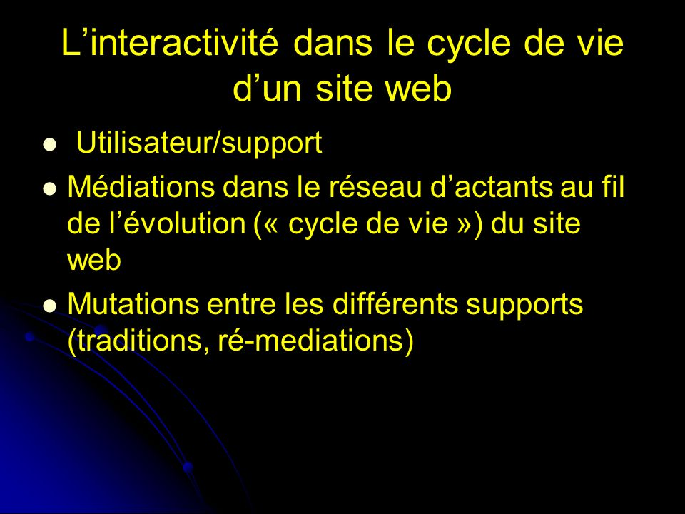 Linteractivité dans le cycle de vie dun site web Utilisateur/support Médiations dans le réseau dactants au fil de lévolution (« cycle de vie ») du site web Mutations entre les différents supports (traditions, ré-mediations)