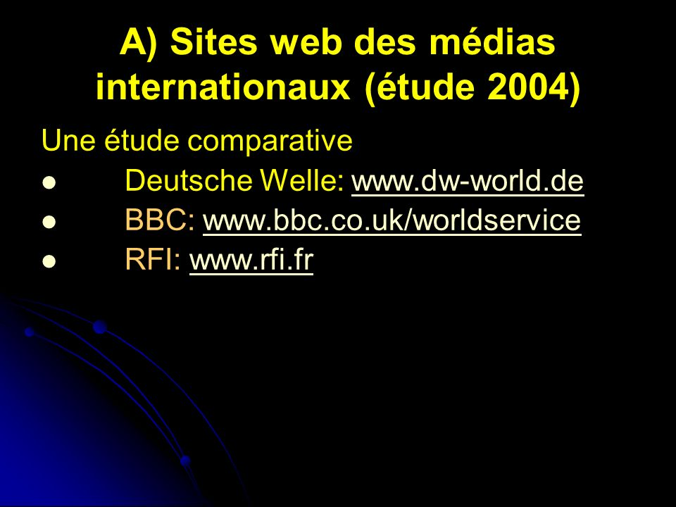 A) Sites web des médias internationaux (étude 2004) Une étude comparative Deutsche Welle: www.dw-world.dewww.dw-world.de BBC: www.bbc.co.uk/worldservi