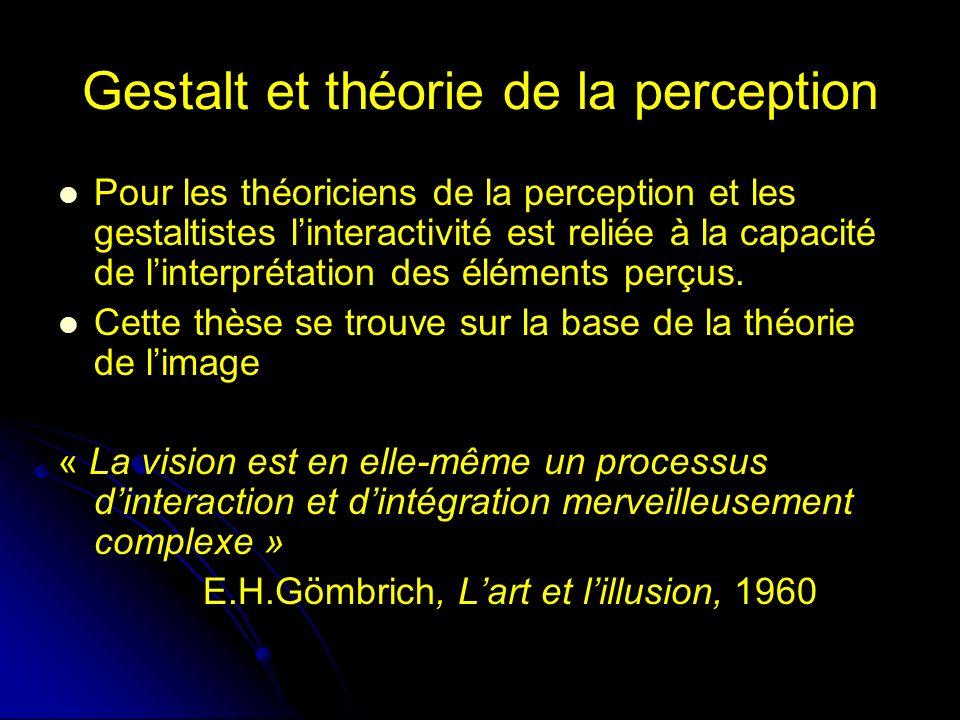 Gestalt et théorie de la perception Pour les théoriciens de la perception et les gestaltistes linteractivité est reliée à la capacité de linterprétation des éléments perçus.