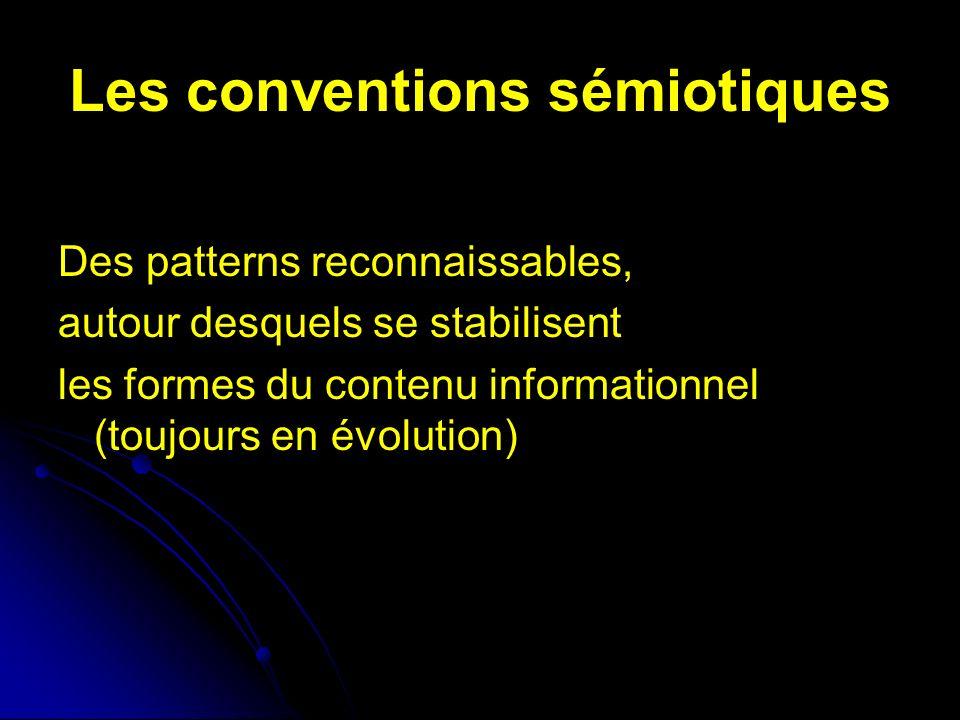 Les conventions sémiotiques Des patterns reconnaissables, autour desquels se stabilisent les formes du contenu informationnel (toujours en évolution)