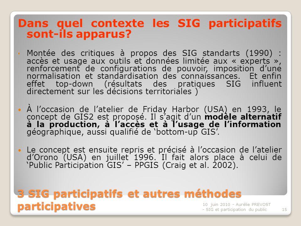 3 SIG participatifs et autres méthodes participatives Dans quel contexte les SIG participatifs sont-ils apparus.