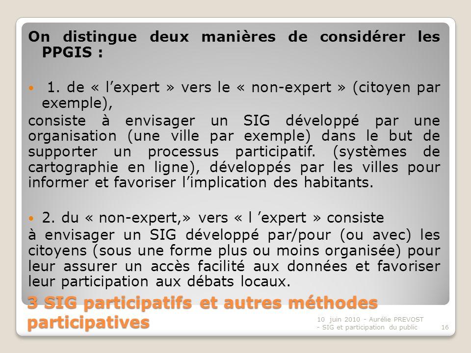3 SIG participatifs et autres méthodes participatives On distingue deux manières de considérer les PPGIS : 1.