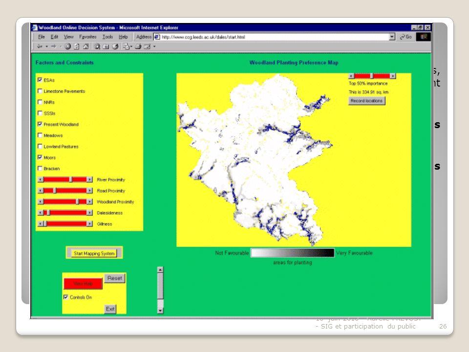 Pratique de planification spatiale exemple « the Woodland planting system » - suite - En phase 3, Sont présentés à lutilisateur (via site web) 14 cartes thématiques, reflétant des enjeux spatiaux et environnementaux différents, et montrant limportance de planter à tel endroit pour telle thématique.