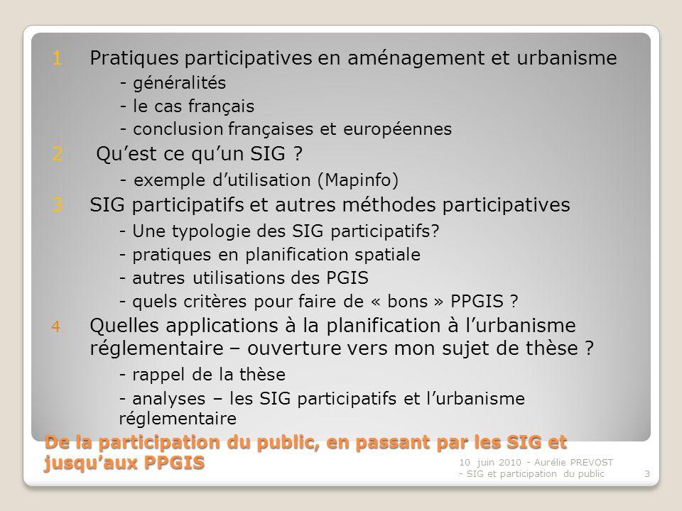 De la participation du public, en passant par les SIG et jusquaux PPGIS 1 Pratiques participatives en aménagement et urbanisme - généralités - le cas français - conclusion françaises et européennes 2 Quest ce quun SIG .