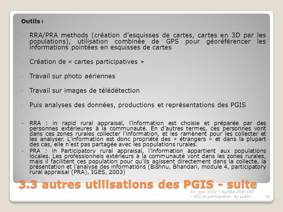 3.3 autres utilisations des PGIS - suite Outils : RRA/PRA methods (création desquisses de cartes, cartes en 3D par les populations), utilisation combinée de GPS pour géoréférencer les informations pointées en esquisses de cartes Création de « cartes participatives » Travail sur photo aériennes Travail sur images de télédétection Puis analyses des données, productions et représentations des PGIS RRA : in rapid rural appraisal, linformation est choisie et préparée par des personnes extérieures à la communauté.