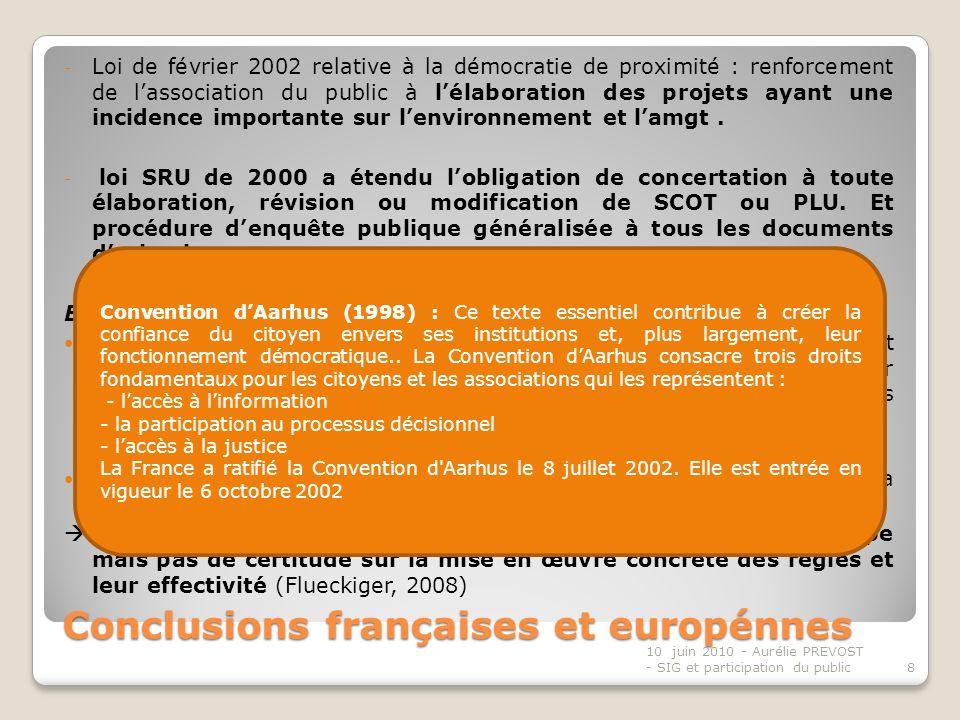 Conclusions françaises et europénnes - Loi de février 2002 relative à la démocratie de proximité : renforcement de lassociation du public à lélaboration des projets ayant une incidence importante sur lenvironnement et lamgt.