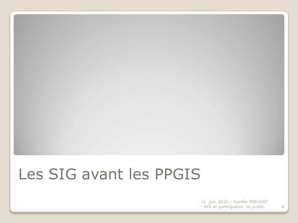 Les SIG avant les PPGIS 10 juin 2010 - Aurélie PREVOST - SIG et participation du public9