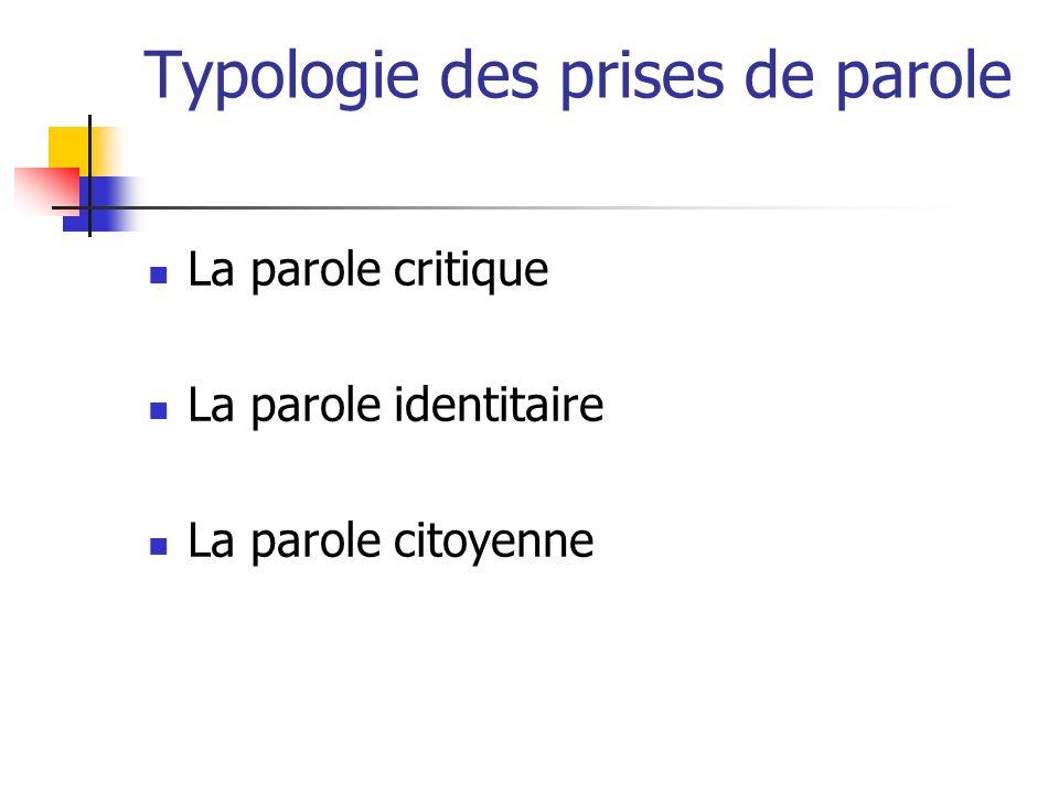 Typologie des prises de parole La parole critique La parole identitaire La parole citoyenne