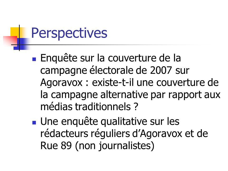 Perspectives Enquête sur la couverture de la campagne électorale de 2007 sur Agoravox : existe-t-il une couverture de la campagne alternative par rapport aux médias traditionnels .