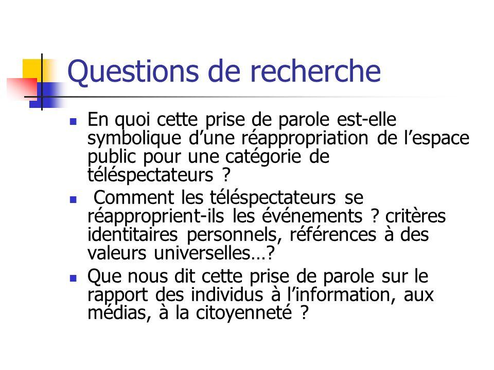Questions de recherche En quoi cette prise de parole est-elle symbolique dune réappropriation de lespace public pour une catégorie de téléspectateurs .