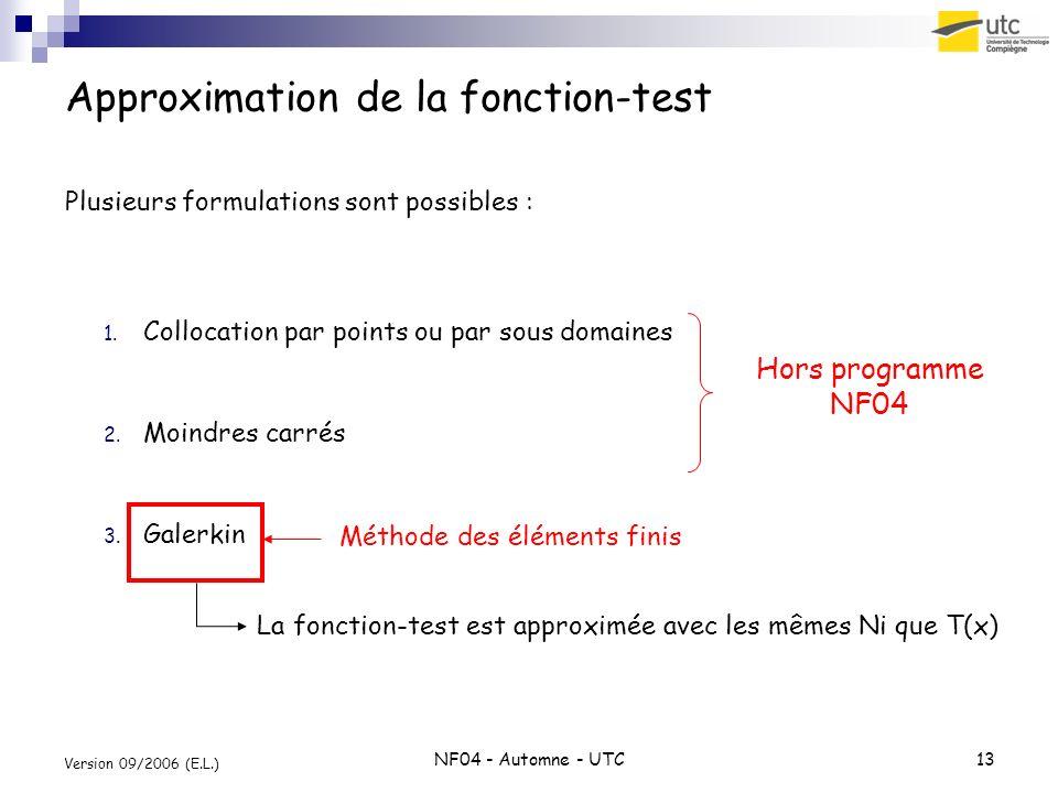 NF04 - Automne - UTC13 Version 09/2006 (E.L.) Approximation de la fonction-test Plusieurs formulations sont possibles : 1.