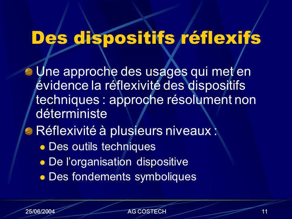25/06/2004AG COSTECH11 Des dispositifs réflexifs Une approche des usages qui met en évidence la réflexivité des dispositifs techniques : approche réso