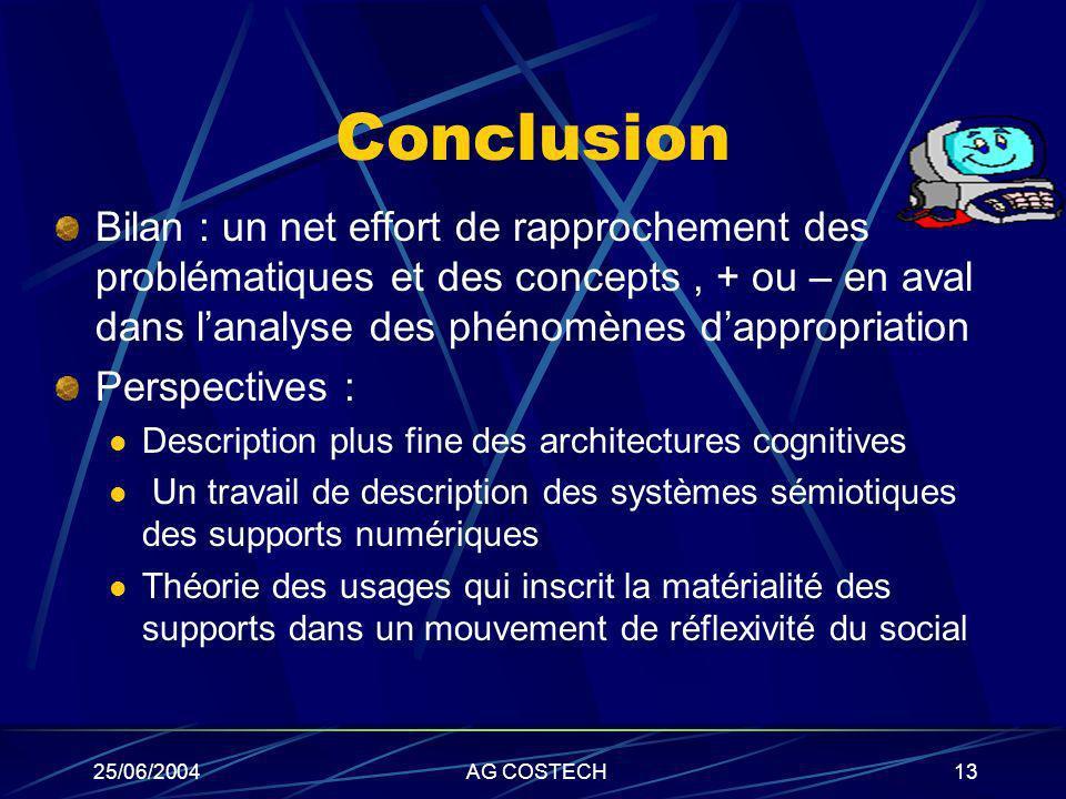 25/06/2004AG COSTECH13 Conclusion Bilan : un net effort de rapprochement des problématiques et des concepts, + ou – en aval dans lanalyse des phénomèn