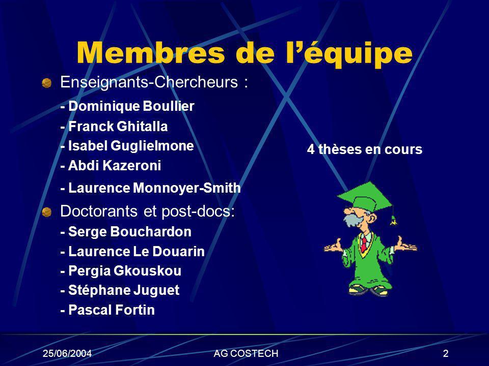 25/06/2004AG COSTECH2 Membres de léquipe Enseignants-Chercheurs : - Dominique Boullier - Franck Ghitalla - Isabel Guglielmone - Abdi Kazeroni - Lauren