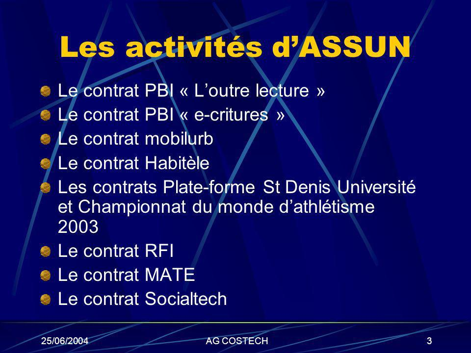 25/06/2004AG COSTECH3 Les activités dASSUN Le contrat PBI « Loutre lecture » Le contrat PBI « e-critures » Le contrat mobilurb Le contrat Habitèle Les