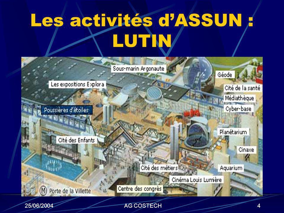 25/06/2004AG COSTECH4 Les activités dASSUN : LUTIN