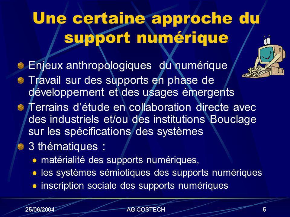 25/06/2004AG COSTECH5 Une certaine approche du support numérique Enjeux anthropologiques du numérique Travail sur des supports en phase de développeme