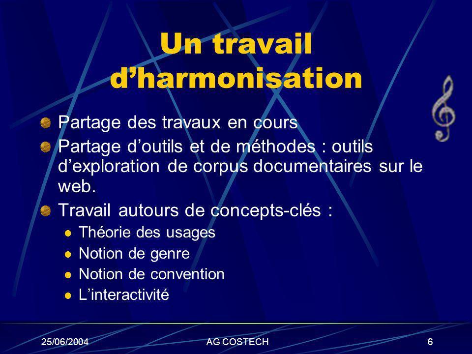 25/06/2004AG COSTECH6 Un travail dharmonisation Partage des travaux en cours Partage doutils et de méthodes : outils dexploration de corpus documentai