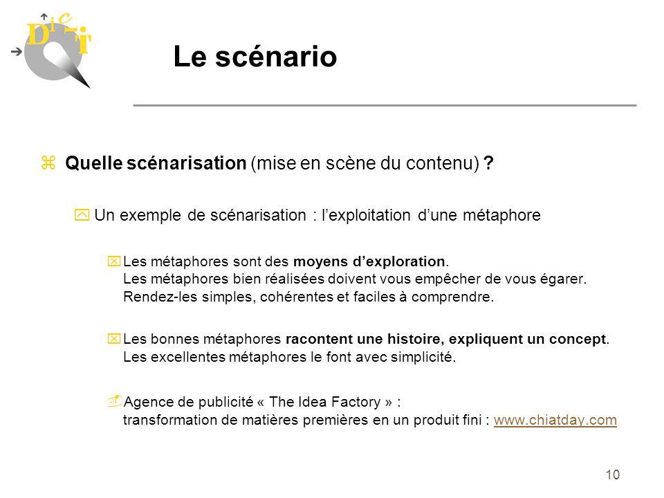 10 zQuelle scénarisation (mise en scène du contenu) ? yUn exemple de scénarisation : lexploitation dune métaphore xLes métaphores sont des moyens dexp