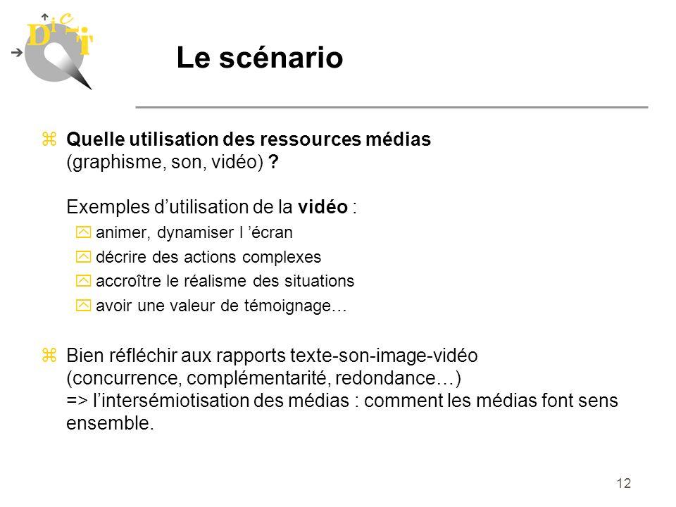 12 zQuelle utilisation des ressources médias (graphisme, son, vidéo) ? Exemples dutilisation de la vidéo : yanimer, dynamiser l écran ydécrire des act