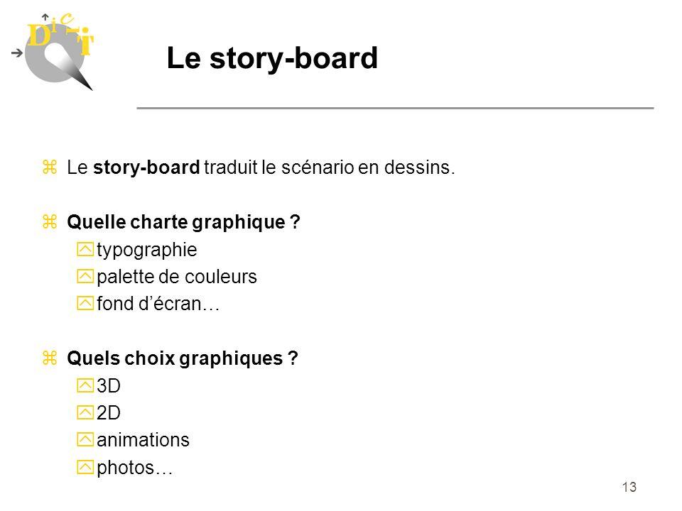 13 Le story-board zLe story-board traduit le scénario en dessins. zQuelle charte graphique ? ytypographie ypalette de couleurs yfond décran… zQuels ch
