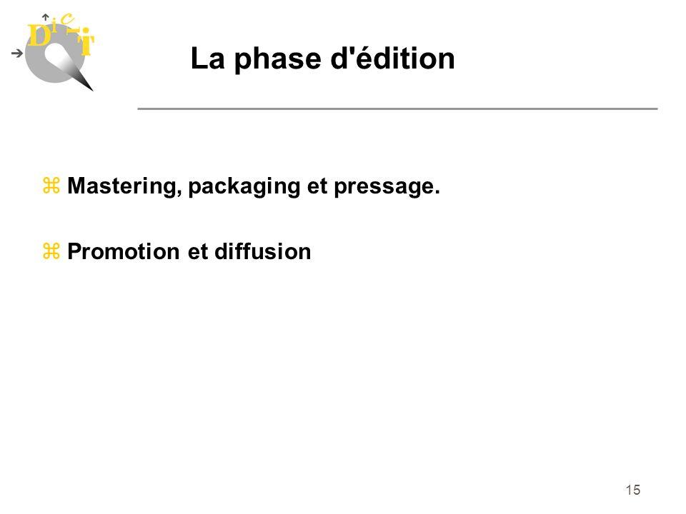 15 La phase d'édition zMastering, packaging et pressage. zPromotion et diffusion
