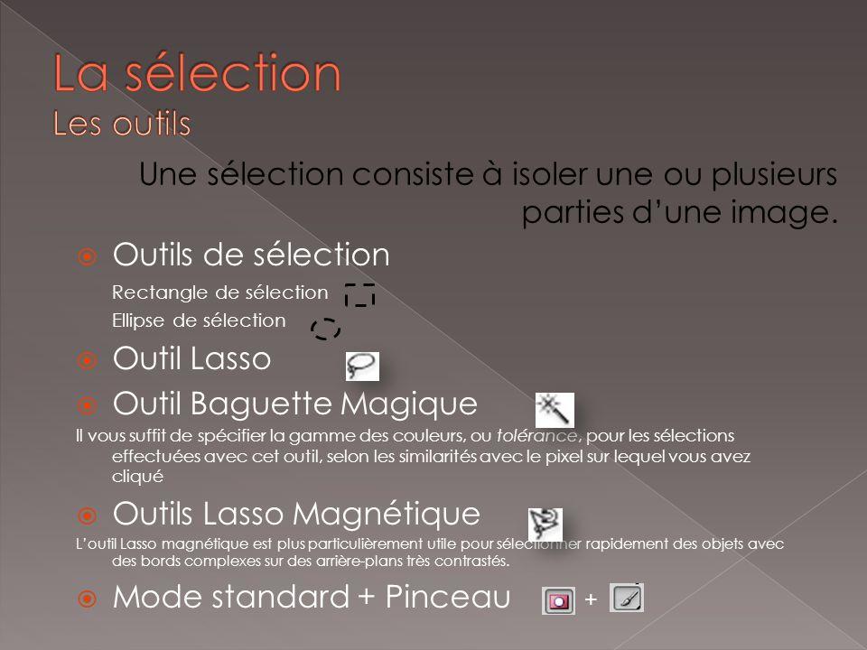 Une sélection consiste à isoler une ou plusieurs parties dune image. Outils de sélection Rectangle de sélection Ellipse de sélection Outil Lasso Outil