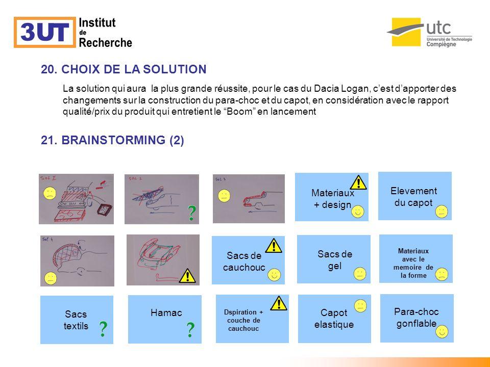 20. CHOIX DE LA SOLUTION 21. BRAINSTORMING (2) La solution qui aura la plus grande réussite, pour le cas du Dacia Logan, cest dapporter des changement
