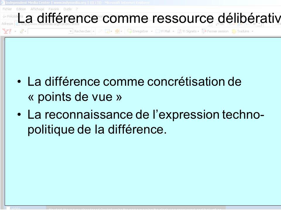 ASSUN, 8 février La différence comme ressource délibérative La différence comme concrétisation de « points de vue » La reconnaissance de lexpression techno- politique de la différence.