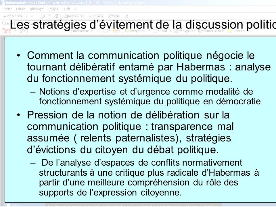 ASSUN, 8 février Les stratégies dévitement de la discussion politique Comment la communication politique négocie le tournant délibératif entamé par Habermas : analyse du fonctionnement systémique du politique.