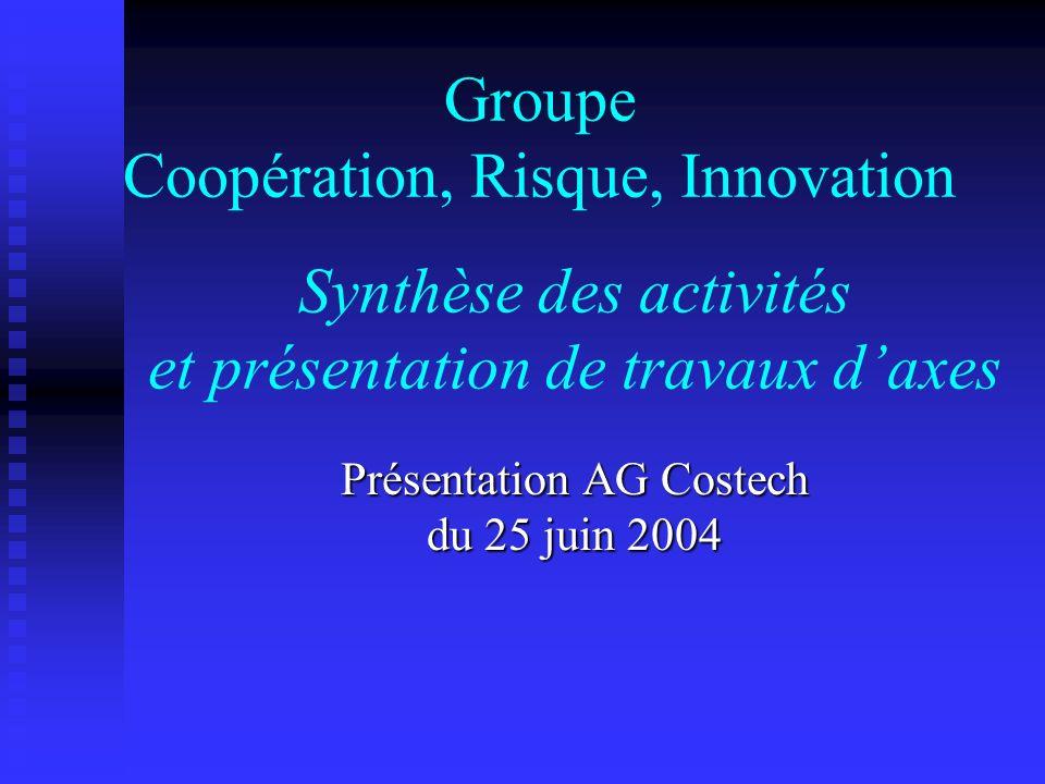 Synthèse des activités et présentation de travaux daxes Présentation AG Costech du 25 juin 2004 Groupe Coopération, Risque, Innovation