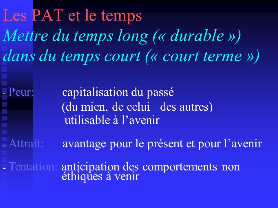 Les PAT et le temps Mettre du temps long (« durable ») dans du temps court (« court terme ») - Peur: capitalisation du passé (du mien, de celui des au