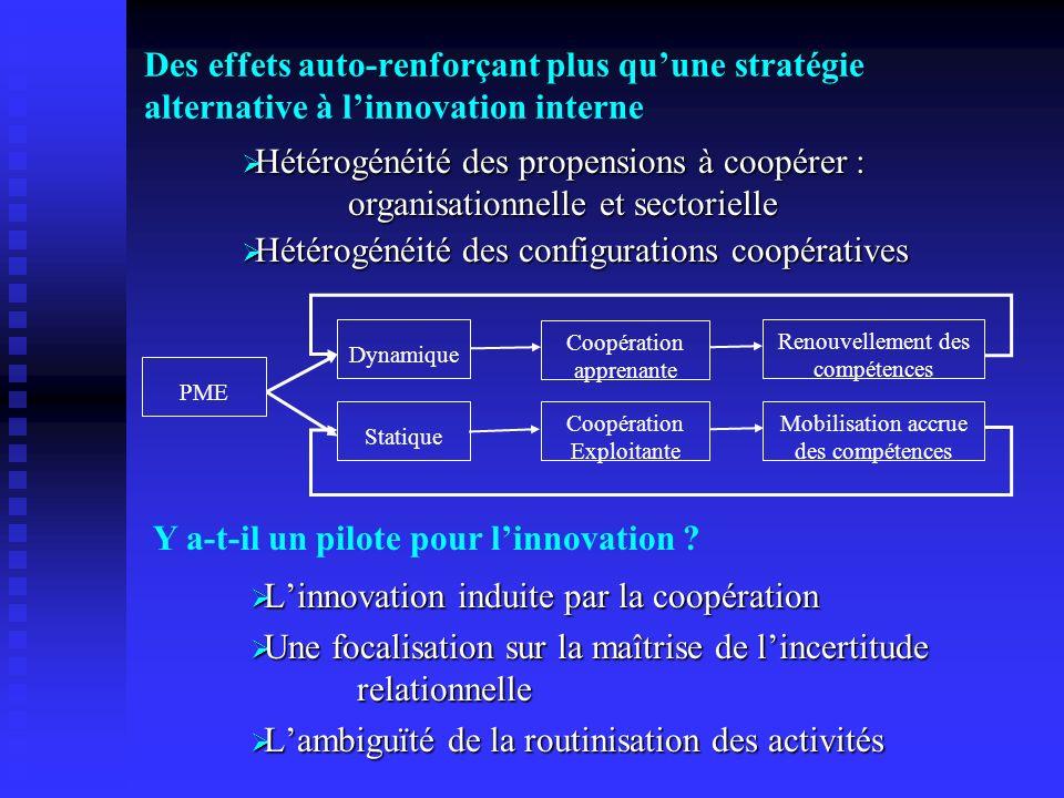 Des effets auto-renforçant plus quune stratégie alternative à linnovation interne Linnovation induite par la coopération Linnovation induite par la co